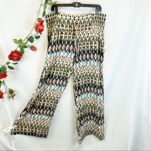 NWT Peace & Pearls Soft Printed Ikat Boho Pants